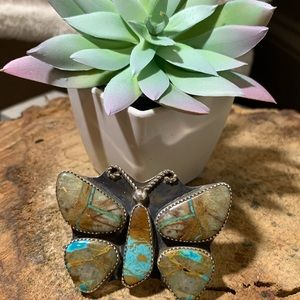 Natural Royston hand cut Navajo butterfly ring